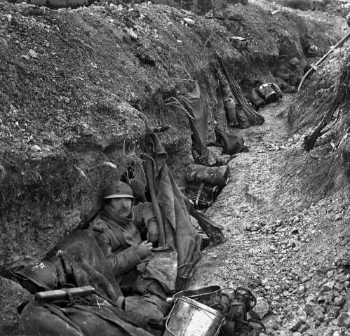 World War One, Battle of Verdun. French trench on the front lines, 1916. (Photo by Roger Viollet/Getty Images)